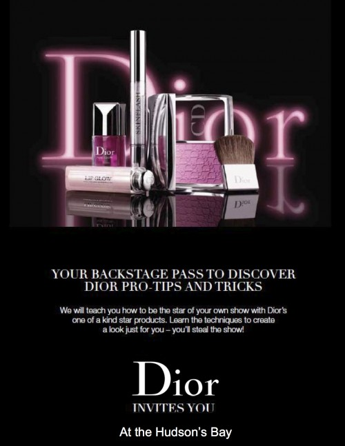 Sign up for Dior's Backstage Makeover event: Sept 4-8